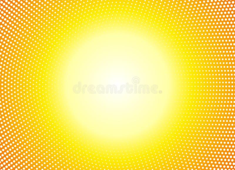 Sun orange halftone circles horizontal background. Sunny yellow frame using halftone dots texture. Vector illustration. Sun orange halftone circles horizontal vector illustration
