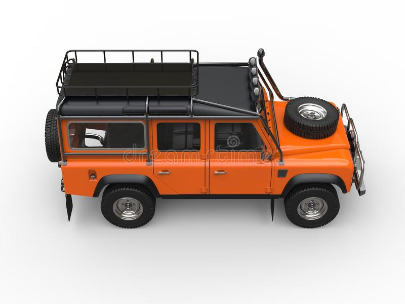 Sun orange heavy off road vehicle - top down side view stock illustration