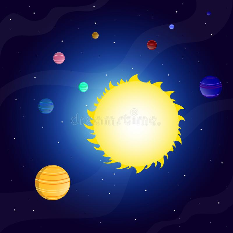 Sun outer space nebula planets in the Solar system vector illustration. Sun outer space nebula. Outer space. Sky clouds. Planet orbit stock illustration
