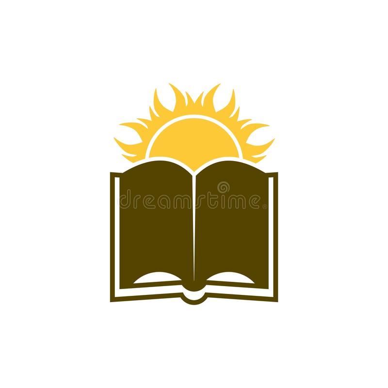 Sun over Book logo, Knowledge, library concept. On white background vector illustration