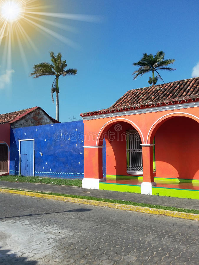 Sun over colorful houses, Tlacotalpan, Mexico stock photos