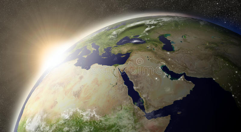 Sun over Middle East. Sunset over Middle East region on planet Earth viewed from space with Moon and stars in the background. Elements of this image furnished by royalty free illustration