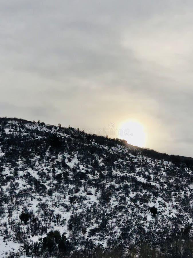 Sun over Salt Lake City, Utah mountain royalty free stock photography