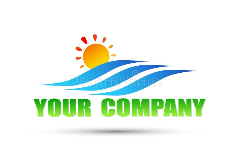 Sun Over Sea logo. wave and sun logo icon. on white Background royalty free illustration