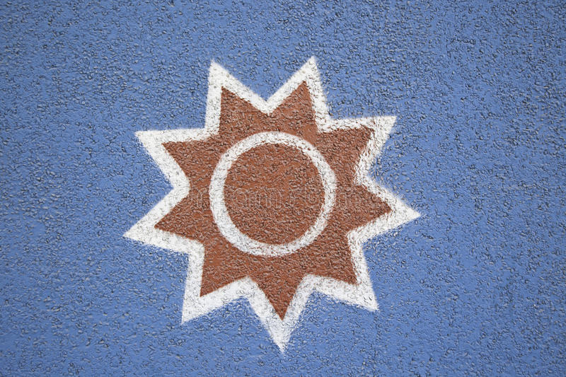 Sun painted on a blue background