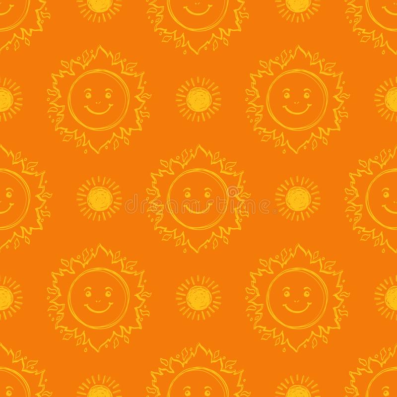Sun pattern seamless. Hand drawn yellow sunshine icons orange background stock illustration