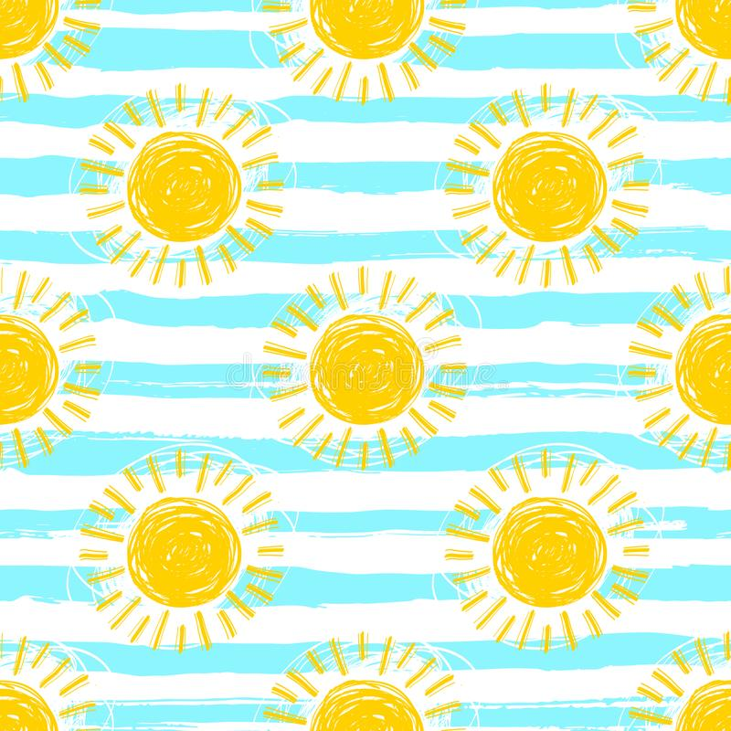 Sun pattern seamless, striped background. Hand drawn yellow sunshine icons vector illustration