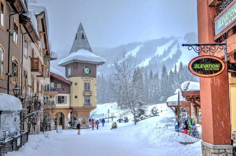 Sun Peaks Ski Resort, March 5, 2017: Ski runs and the resort village near Kamloops, British Columbia, Canada. March 5, 2017. stock images