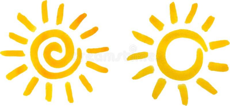 Sun, peinture d'aquarelle illustration de vecteur
