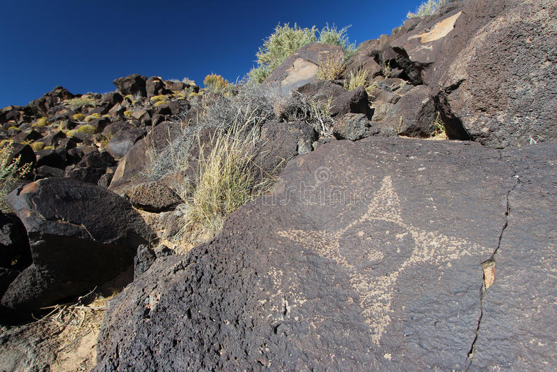 Sun petroglyph, Petroglyph National Monument, Albuquerque, New Mexico royalty free stock photography