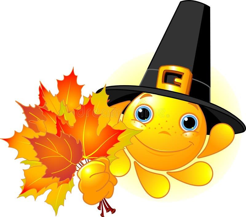 Sun with pilgrim hat holding autumn leaves. Cartoon Character of Cute Sun with pilgrim hat holding autumn leaves