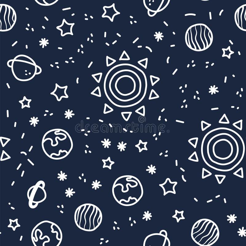 Sun, planet earth and stars from space on dark blue pattern background. Cosmic planet seamless pattern. stock illustration