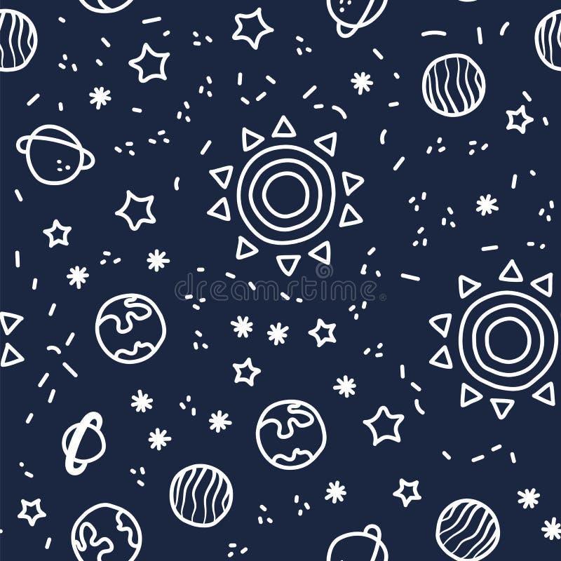 Sun, Planetenerde und Sterne vom Raum auf dunkelblauem Musterhintergrund Nahtloses Muster des kosmischen Planeten stock abbildung