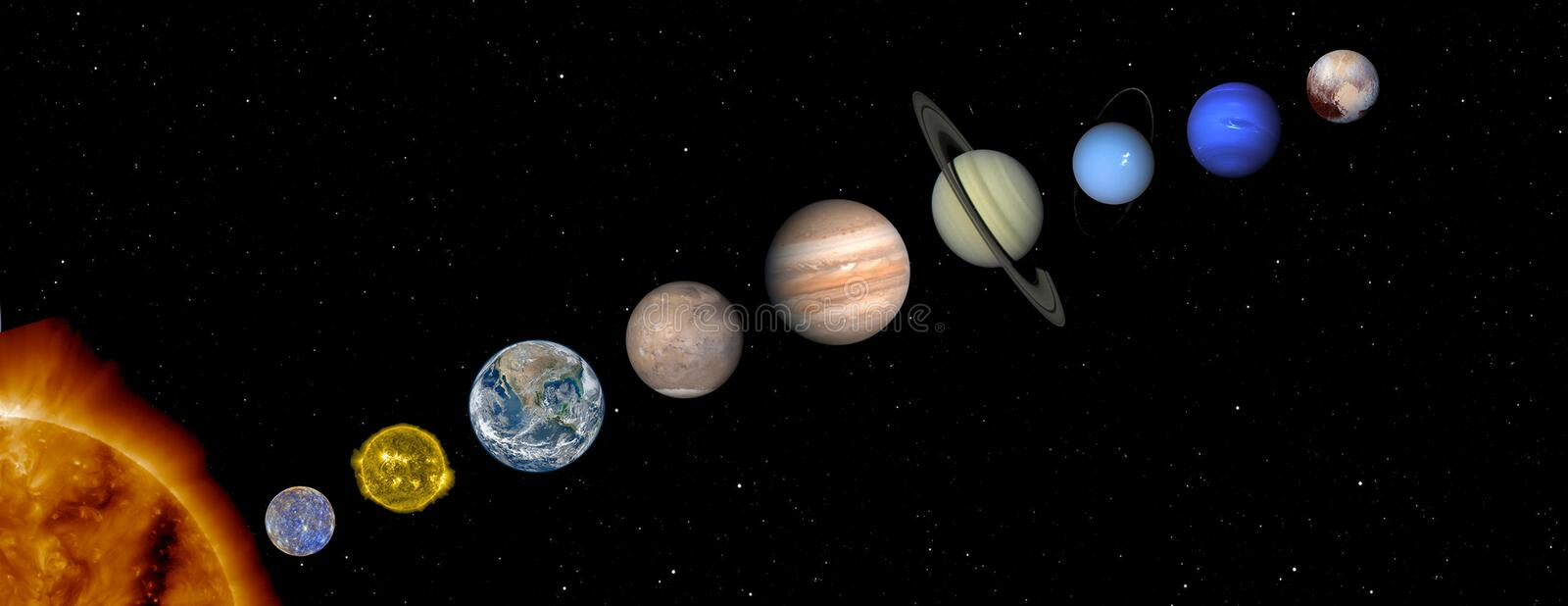 Sun and planets of the solar system royalty free stock photography