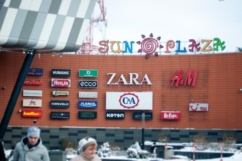 Sun plaza mall brands. In bucharest stock photo
