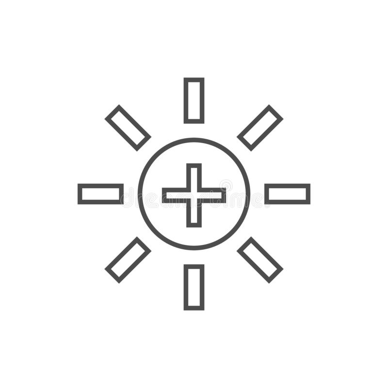 sun with a plus icon. Element of web for mobile concept and web apps icon. Thin line icon for website design and development, app vector illustration
