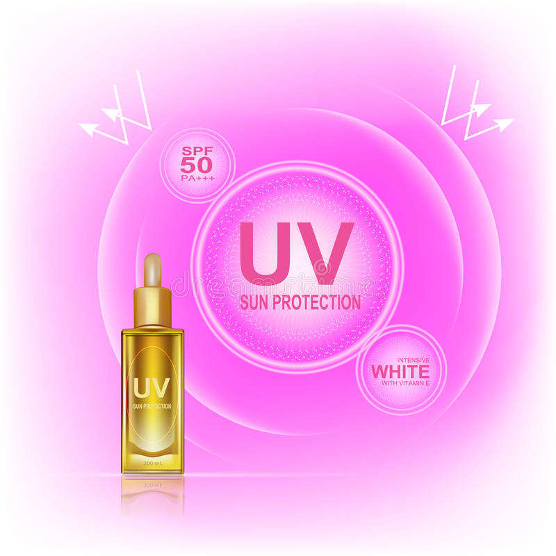 Sun protect Cream. UV sun protection cream ,UV and Whitening Cream Skin care .Background Vector Concept with gold bottle and text in lighting effect stock illustration