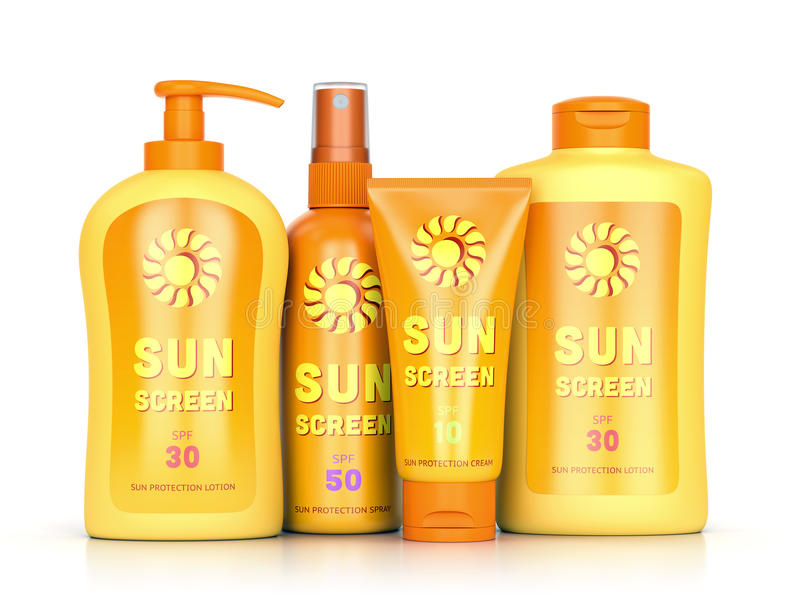 Sun protection cream, spray and lotion. Sunscreen set: sun protection cream, lotion and spray in bottles and tube containers isolated on white background. Summer stock illustration