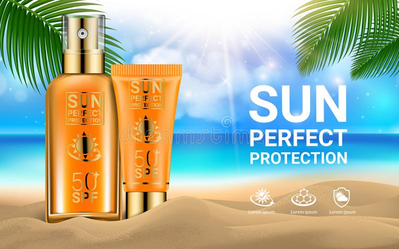 Sun Protection Sunscreen Sprays Tube of Sunscreen Cream for the Face Palm Branches Marine Background. Concept. Advertising Products for Sunburn. Summer and Rest vector illustration