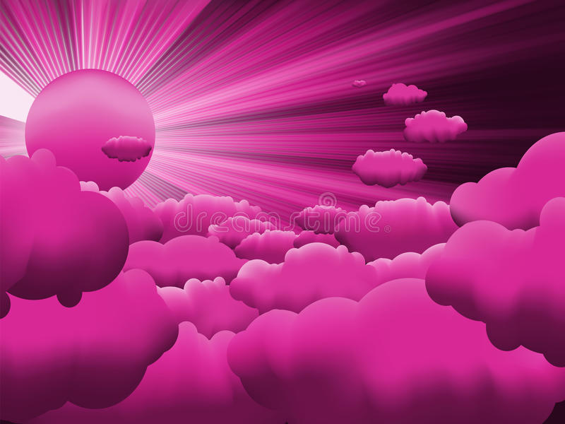 Download Sun And Purple Sky With Beautiful Clouds. EPS 8 Stock Vector - Image: 24240697