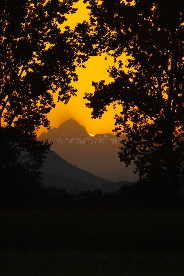 Sun que ajusta-se atrás da montanha quadro por silhuetas das árvores no primeiro plano foto de stock