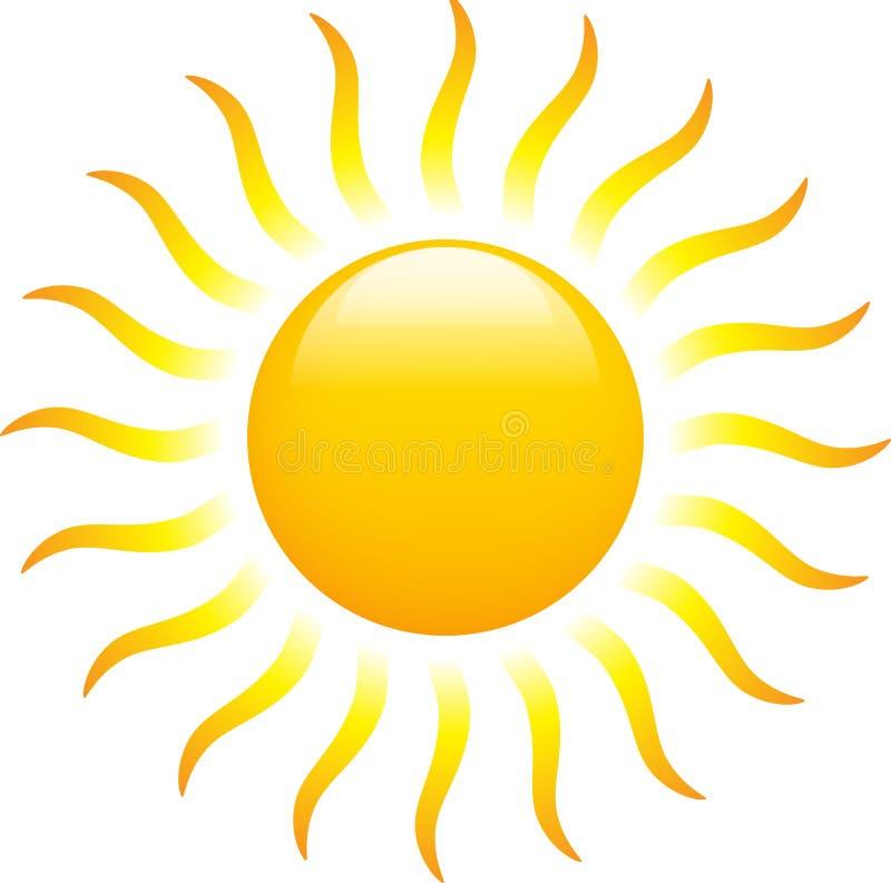 Sun que brilha com raios encaracolado ilustração royalty free