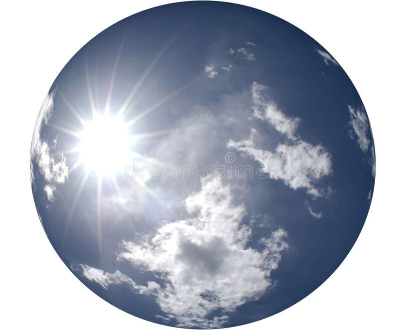 Sun que brilha no céu azul redondo ilustração do vetor