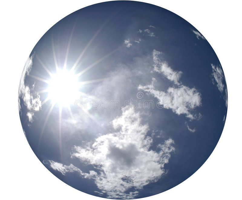 Sun que brilla en cielo azul redondo ilustración del vector