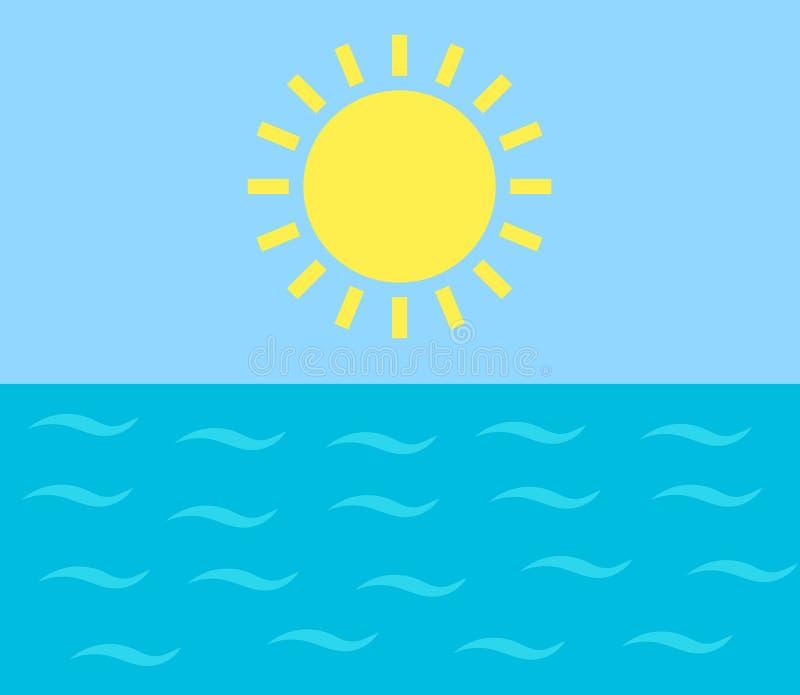 Sun que brilla sobre el mar libre illustration