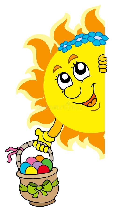 Sun Que Está Al Acecho Con Los Huevos De Pascua Fotos de archivo