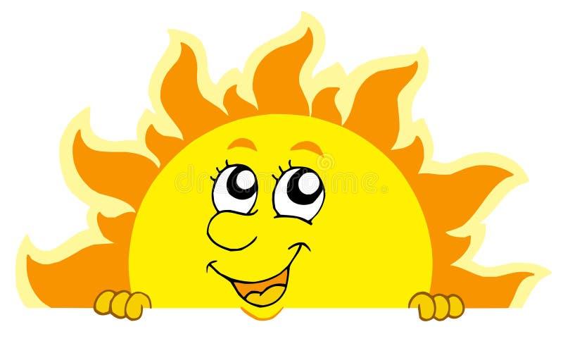 Sun que está al acecho lindo ilustración del vector