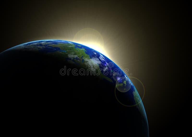 Sun que levanta-se de encontro à terra ilustração royalty free