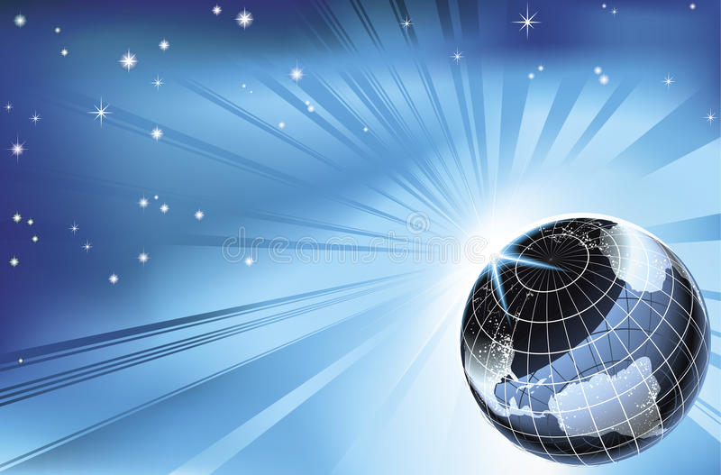 Sun que levanta-se sobre o fundo da terra do planeta do nighttime ilustração royalty free