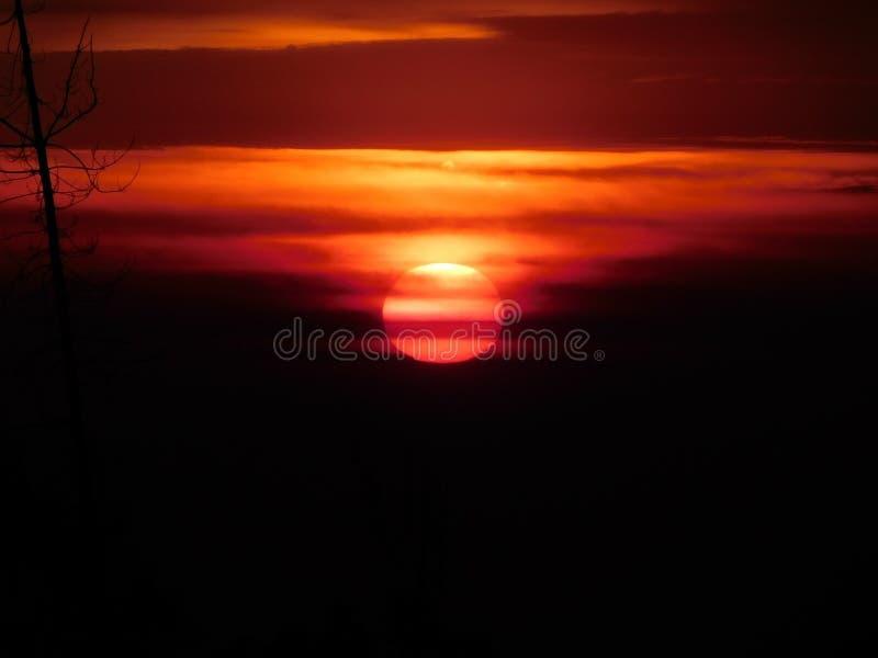 Sun que pinta o céu alaranjado foto de stock