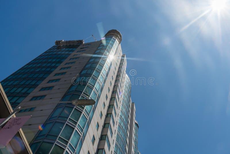 Sun que reflete uma janela da de uma construção residencial alta em San Francisco do centro fotografia de stock royalty free