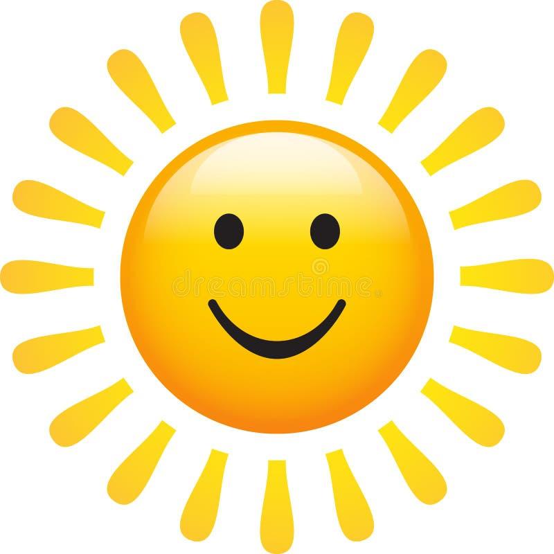 Sun que sorri com cara feliz ilustração royalty free