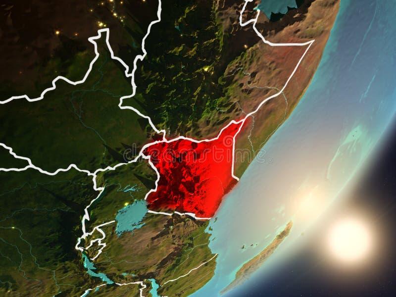 Sun que sube sobre Kenia del espacio stock de ilustración