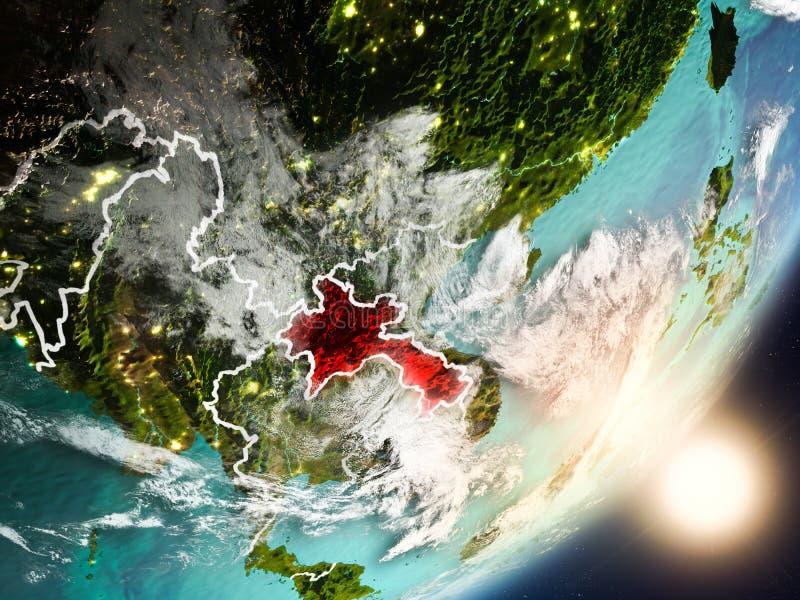 Sun que sube sobre Laos del espacio stock de ilustración