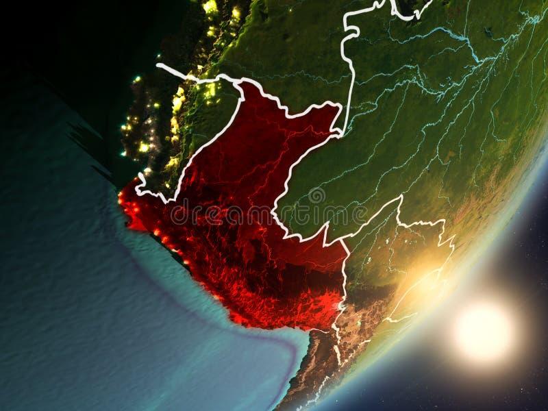 Sun que sube sobre Perú del espacio ilustración del vector
