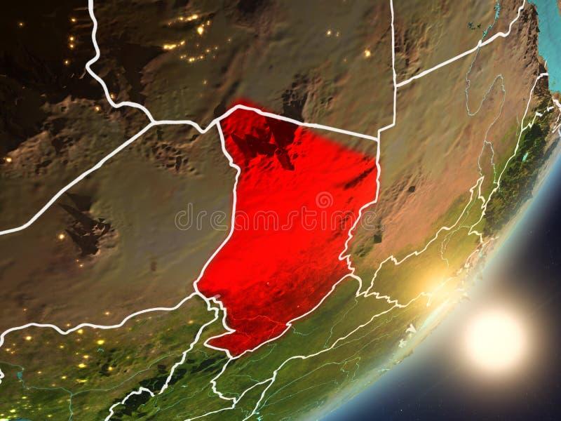 Sun que sube sobre República eo Tchad del espacio ilustración del vector