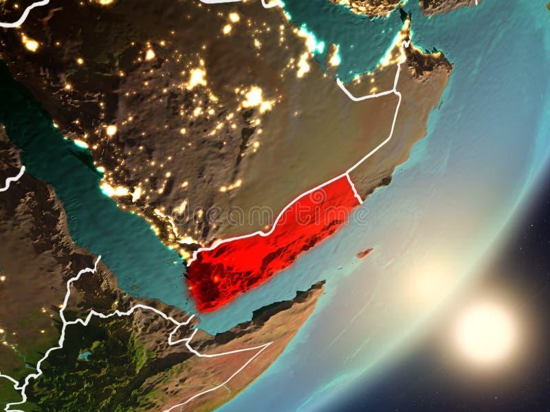 Sun que sube sobre Yemen del espacio libre illustration