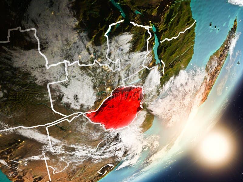 Sun que sube sobre Zimbabwe del espacio ilustración del vector