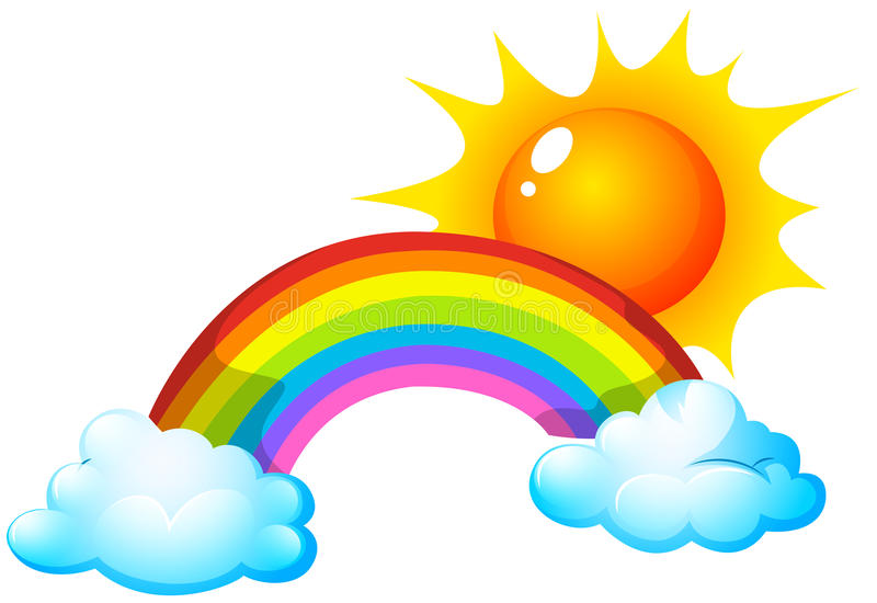 Sun and rainbow stock vector. Illustration of clipart ...