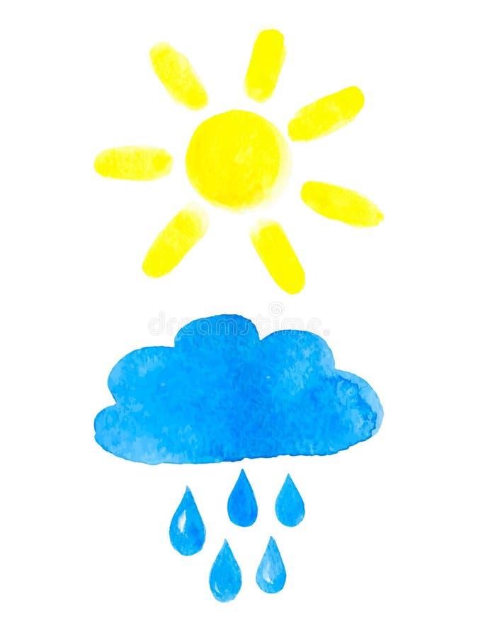Sun and rainy cloud. stock illustration