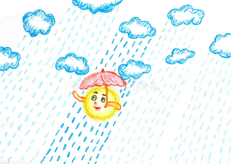 Sun in rainy day pastel painted royalty free illustration