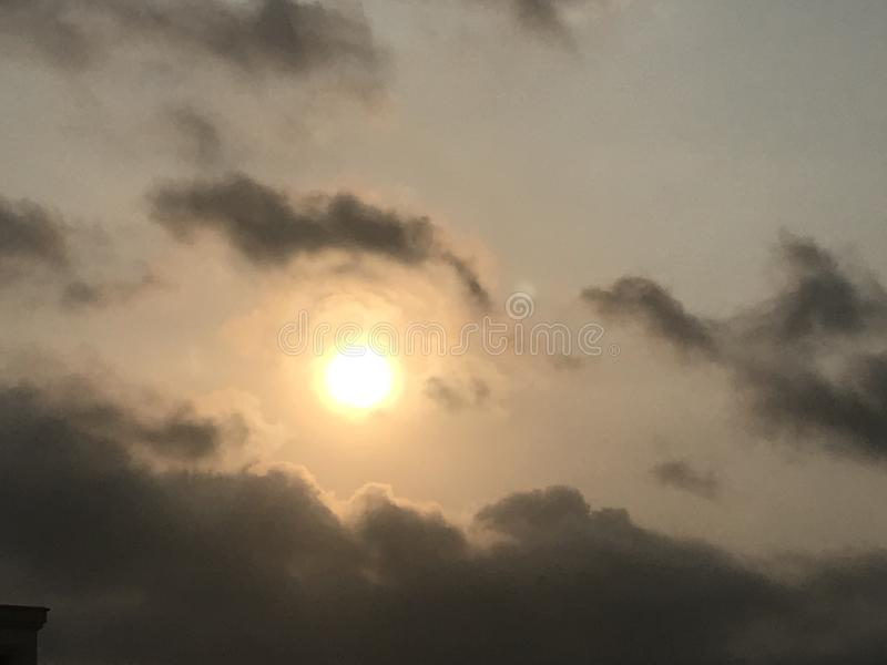 Sun raised. Nature scenery sky sun clouds morning nice good light brighten plant earth royalty free stock images