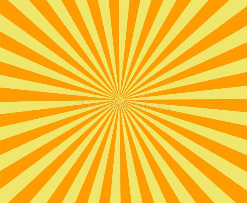 Sun rayonne, vieux papier avec des taches - vecteur illustration libre de droits