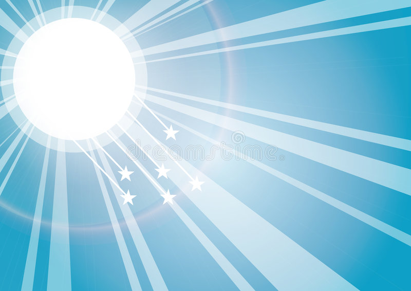 Sun rays. With stars background, vector