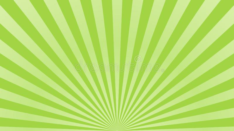 Sun rays background. Green radiate sun beam burst effect. Sunbeam light flash boom. Template starburst poster. Sunlight stock illustration