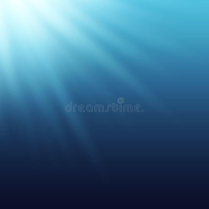 Sun rays, beams shining true the blue water. stock illustration